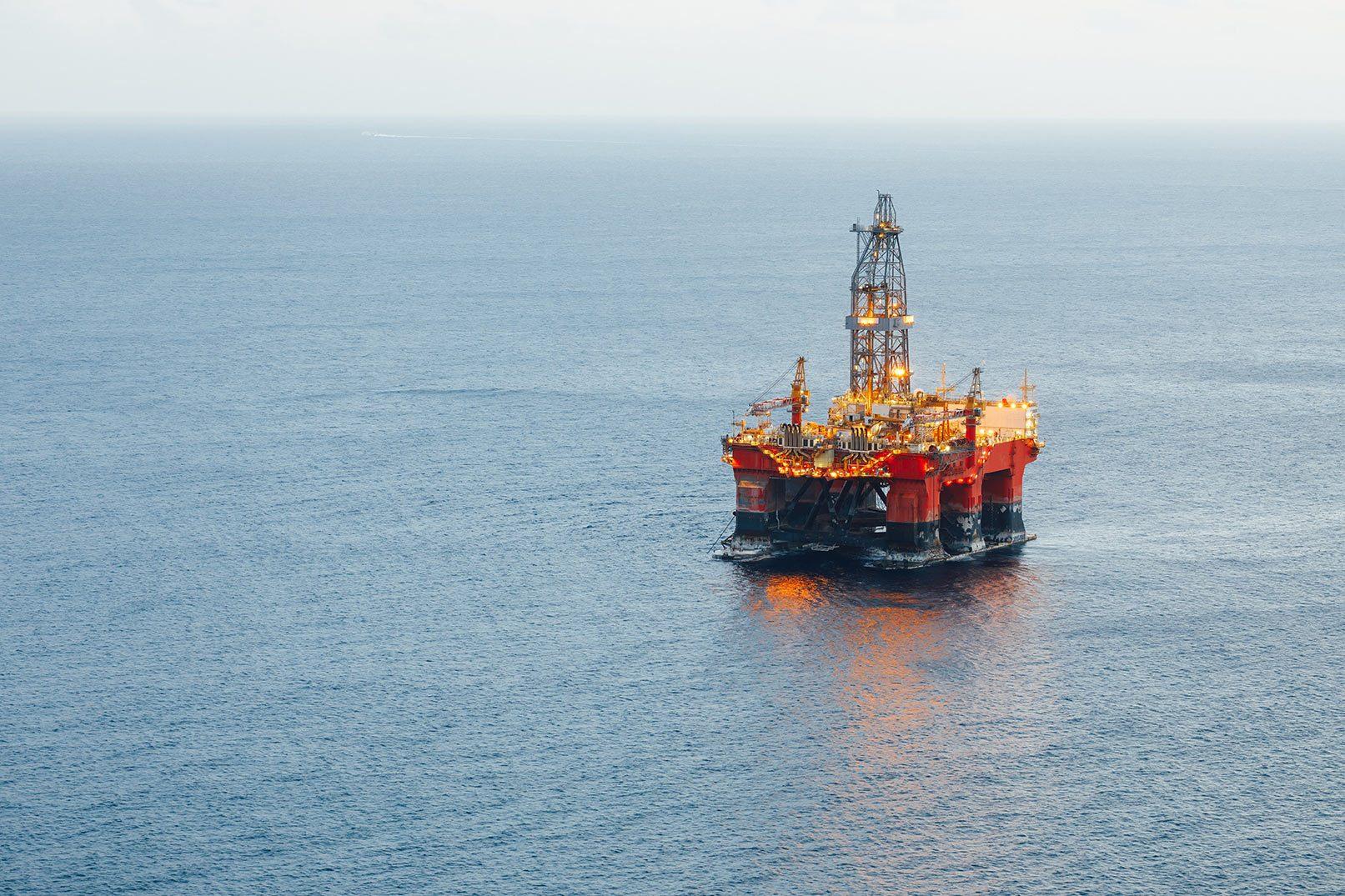 Illuminated oil platform (not the Northern Endeavour)